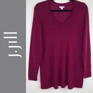 J. Jill 100% Merino Wool Burgundy Tunic Sweater Sm